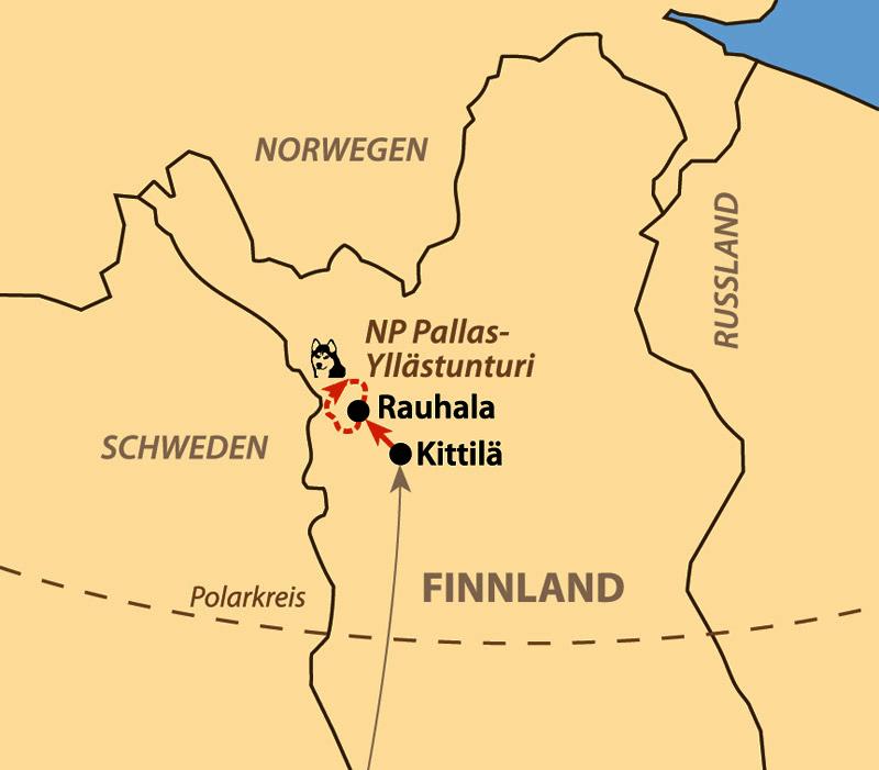 Karte: Mit Huskys durch Finnisch-Lappland