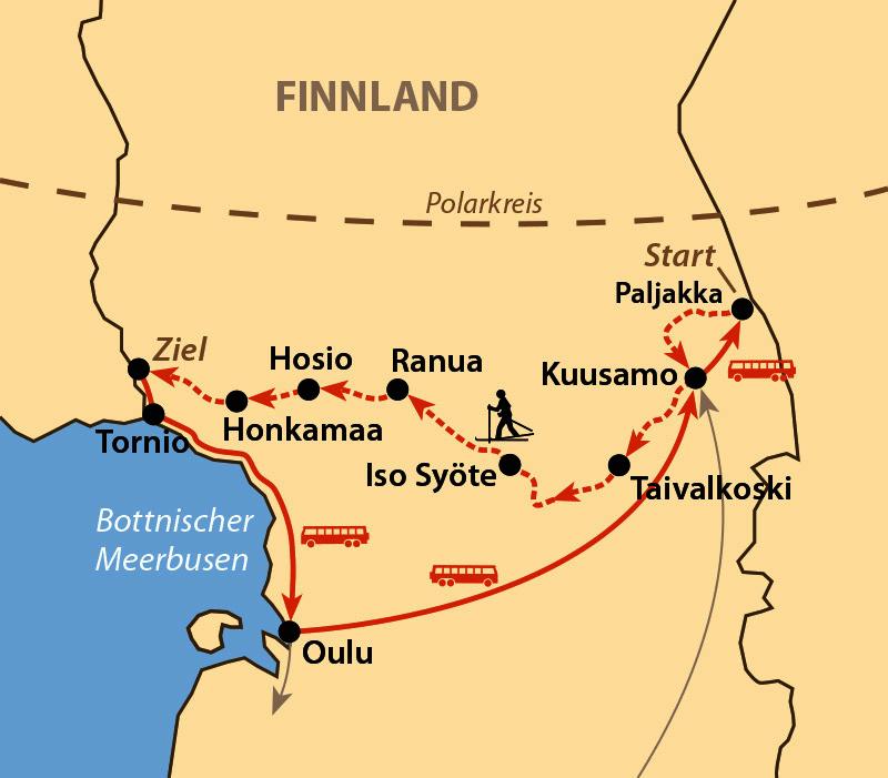 Karte: Rajalta Rajalle Hiihto