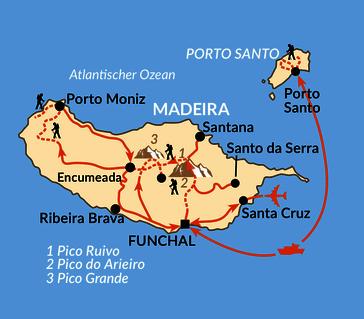 Karte: Inseldurchquerung Madeira und Anschluss auf Porto Santo