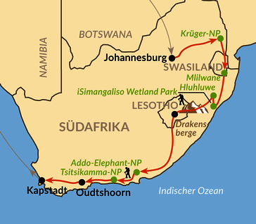 Karte: Quer durch das Land am Kap