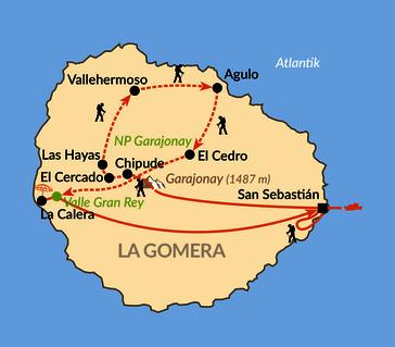 Karte: La Gomera – Inseldurchquerung