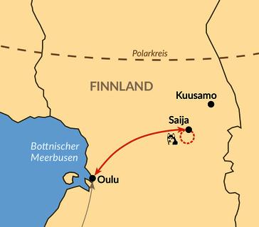 Karte: Huskytour am Rande des Polarkreises