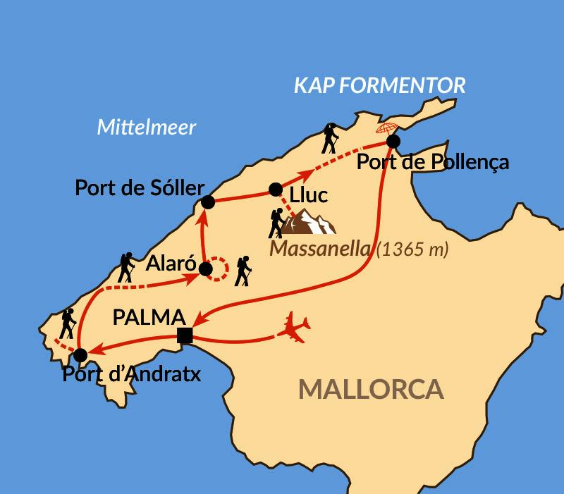 Karte: Mallorca - unterwegs im unberührten Norden