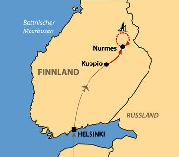 Karte: Skiwanderung von Gasthaus zu Gasthaus
