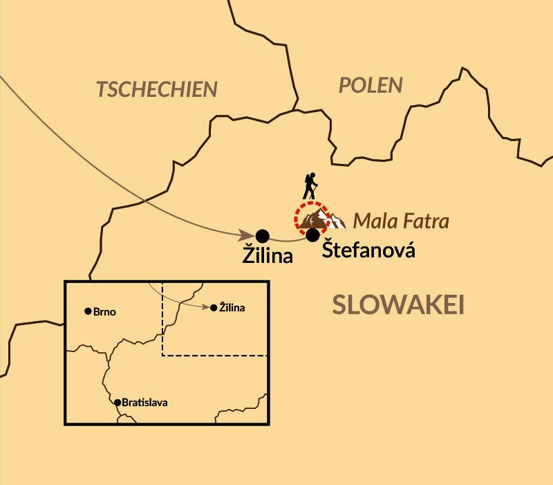 Karte: Naturreise Mala Fatra – Auf den Spuren von Wolf, Bär und Luchs