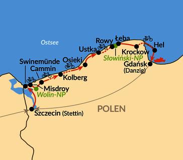 Karte: Die polnische Ostseeküste per Rad
