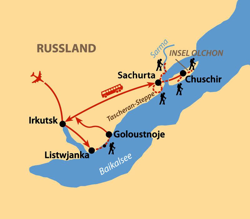 Karte: Baikal – Winterfaszination Baikalsee: Westufer und Insel Olchon