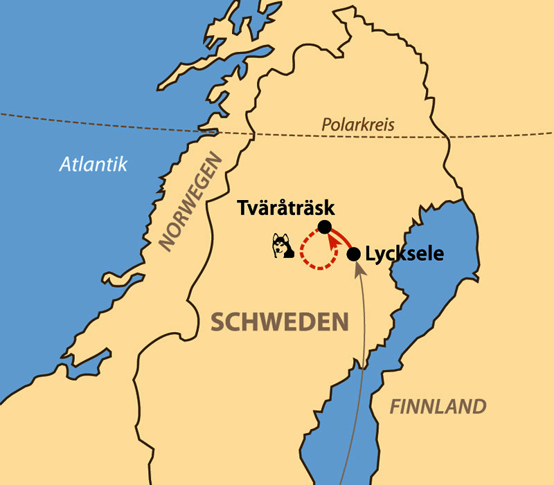 Karte: Mit Huskys in den Bergen Nordschwedens