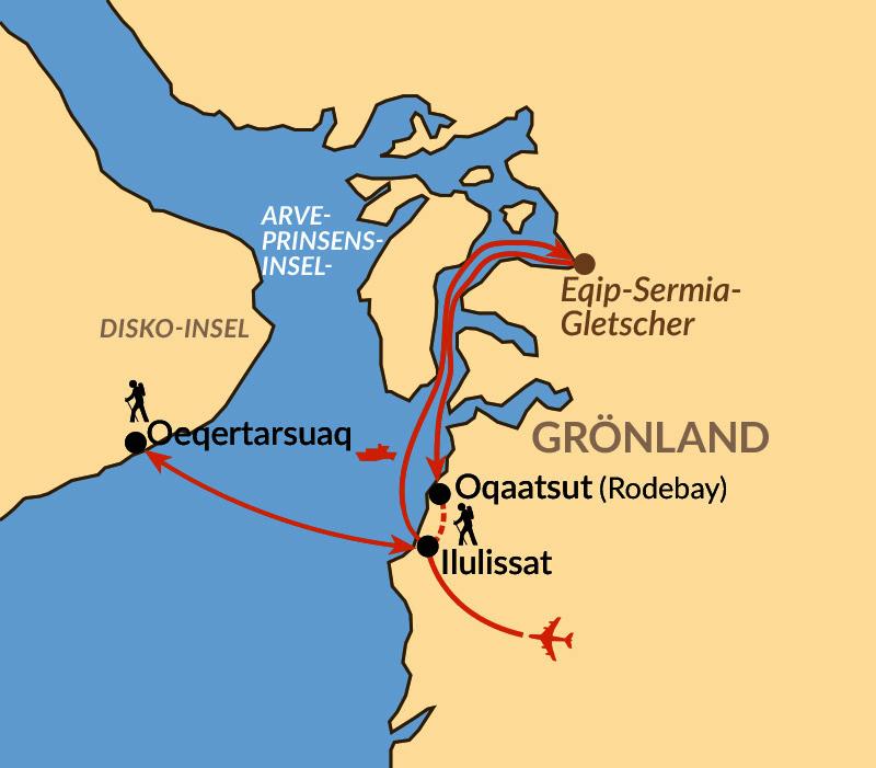Karte: Wandern zur Wiege der Eisberge