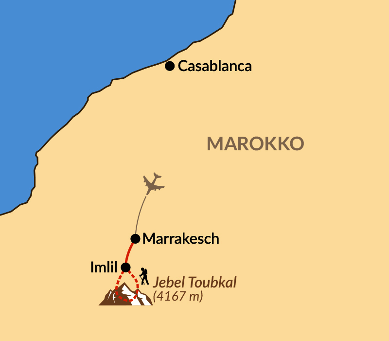 Karte: Reisebaustein: Besteigung des Jebel Toubkal (4167 m)