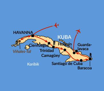 Karte: Kubas Höhepunkte und Meer