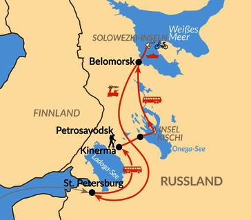 Karte: Karelien – Von St. Petersburg über den Onegasee zum Weißen Meer
