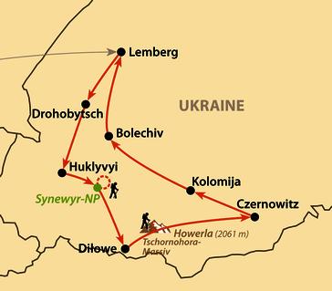 Karte: Waldkarpaten und ukrainische Kulturstädte