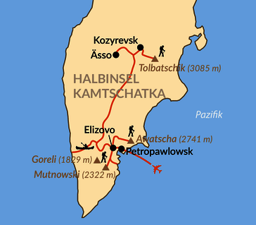 Karte: Kamtschatka – Entdeckungsreise zur Halbinsel aus Feuer und Eis