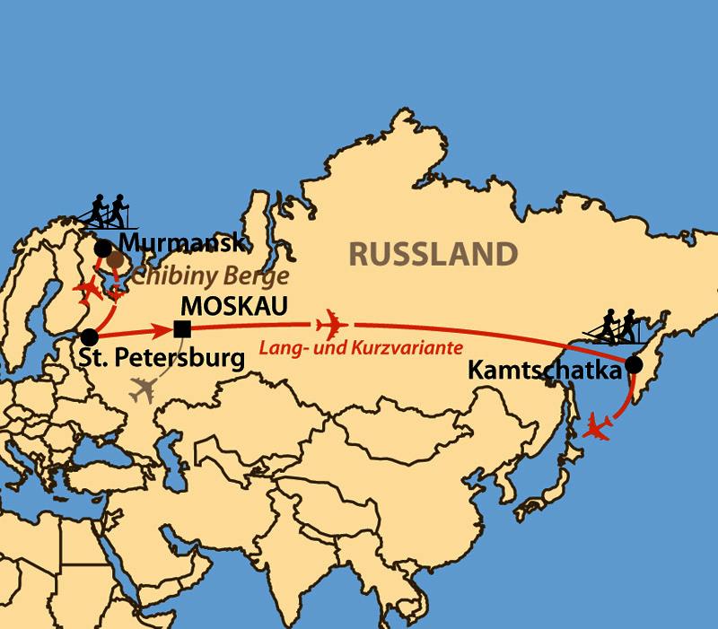 Karte: Kamtschatka - Avatcha (Avacha) Ski Marathon