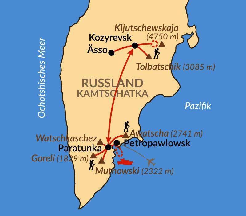 Karte: Kamtschatka – Höhepunkte Kamtschatkas