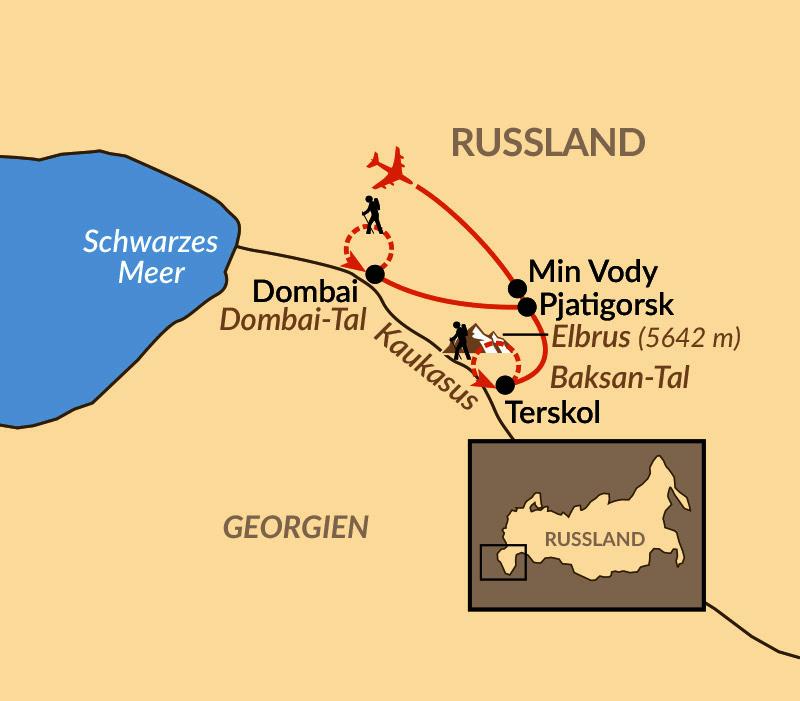 Karte: Kaukasus – Bergparadies Kaukasus