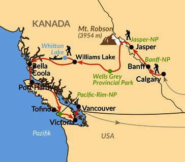 Karte: Kanadas Westen – im Land der tausend Abenteuer