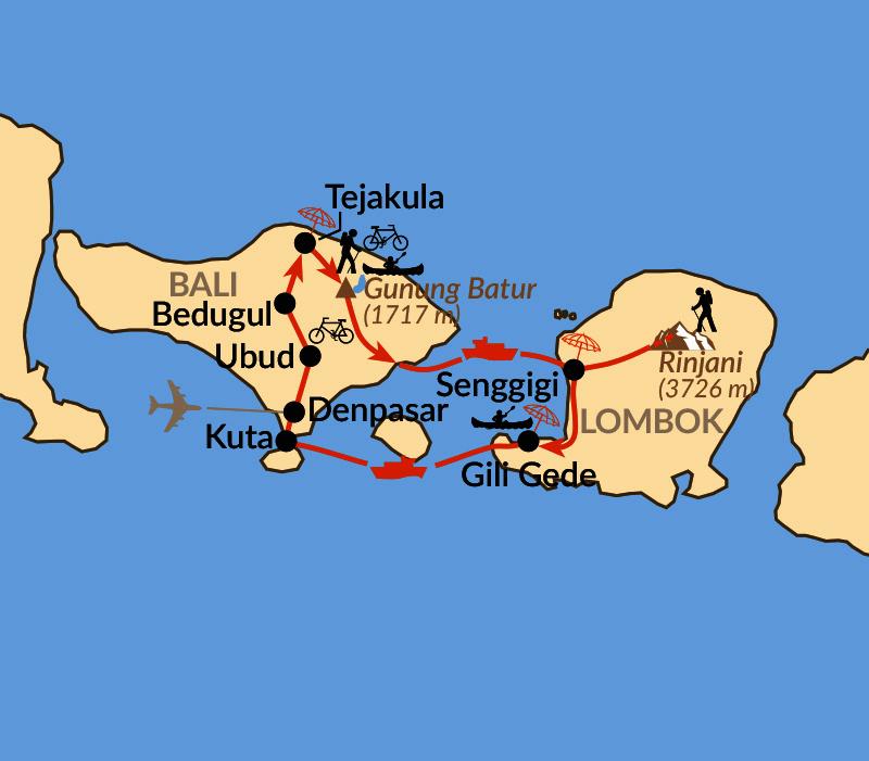 Karte: Bali und Lombok aktiv erleben