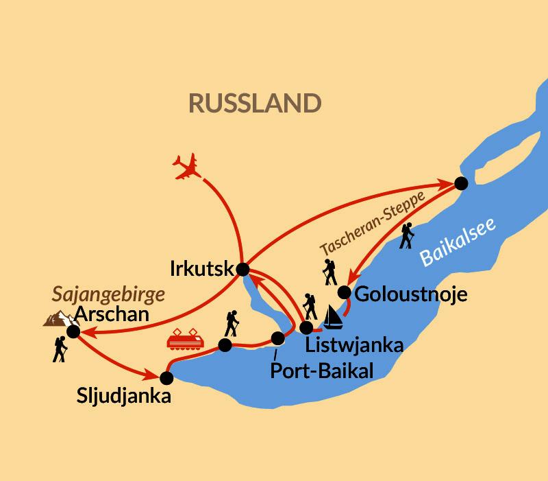 Karte: Baikal – Naturwunder Baikalsee und Begegnungen in Sibirien
