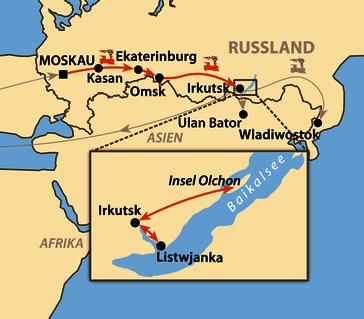 """Karte: Transsib – Mit der """"Transsib"""" zum Baikalsee"""