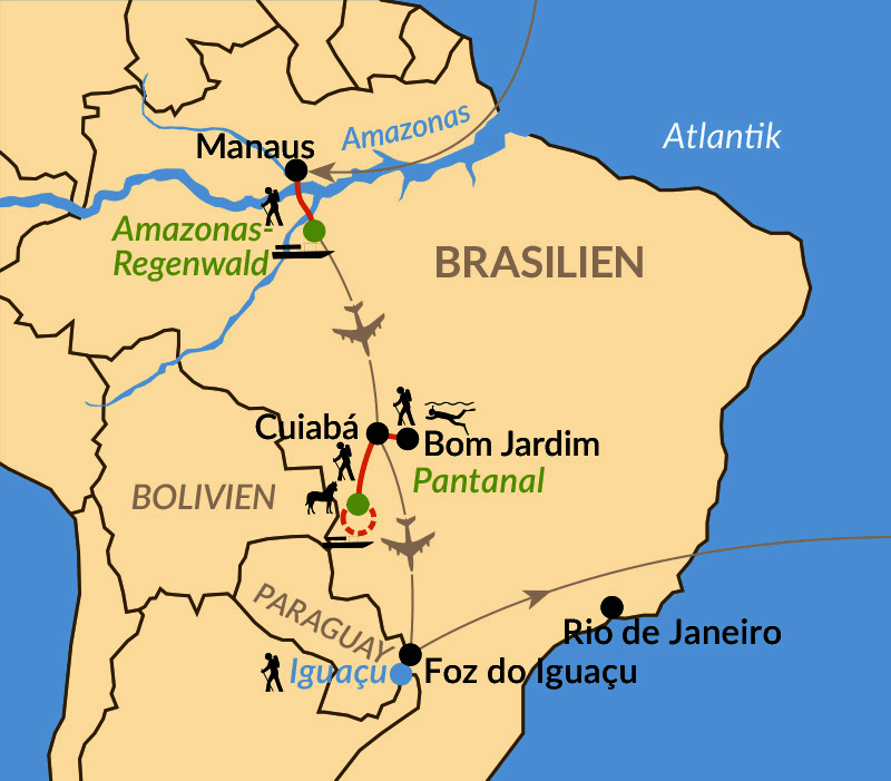 Karte: Naturparadiese Amazonas, Pantanal und Iguaçu-Wasserfälle