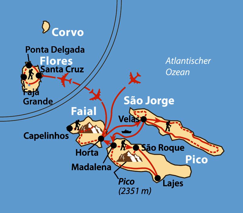 Karte: Wandern auf vier Atlantikinseln