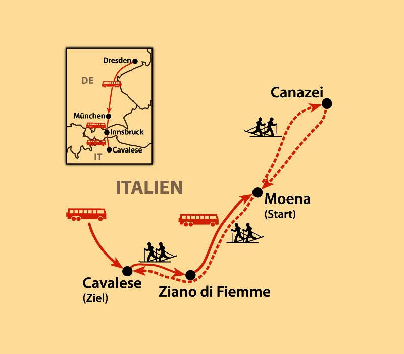 Karte: Marcialonga - 70 km durch Fleims- & Fassatal