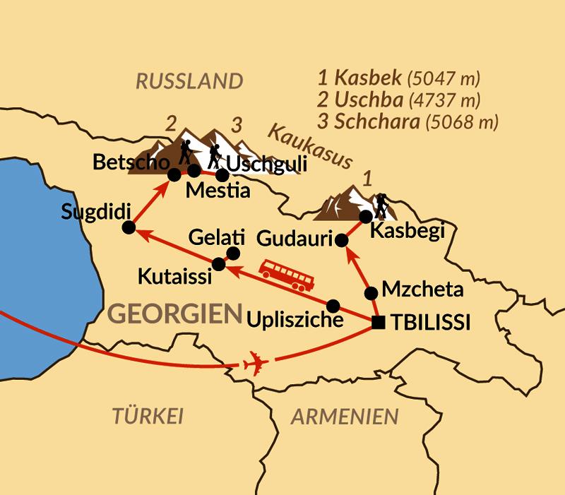 Karte: Wandern im Großen Kaukasus