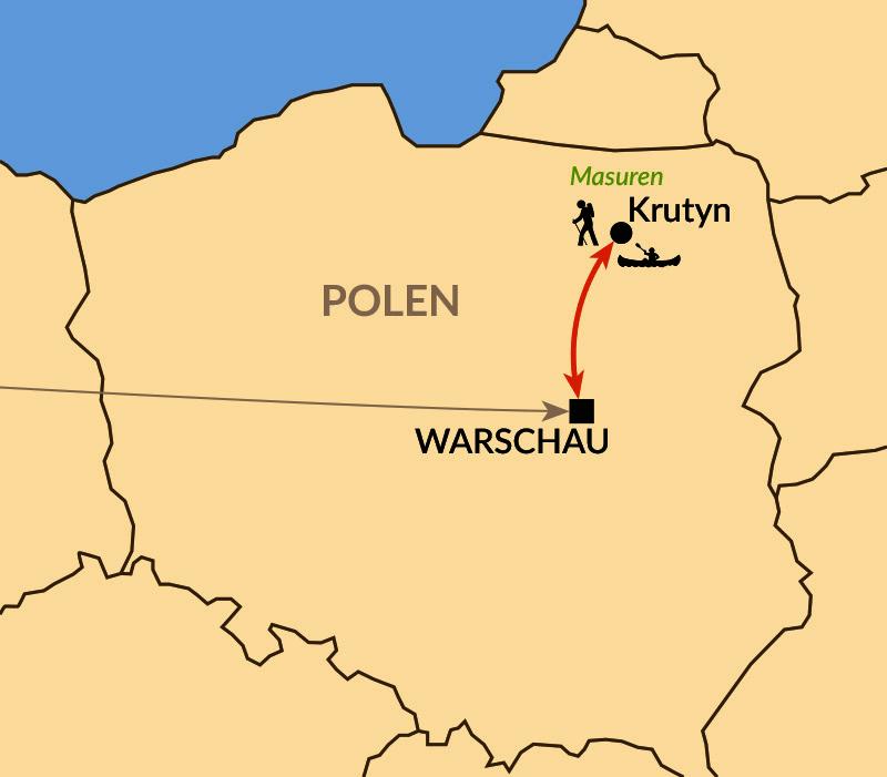 Karte: Kajaktour auf der Krutynia
