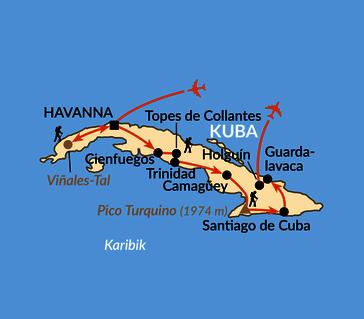 Karte: Kubas Wanderparadiese
