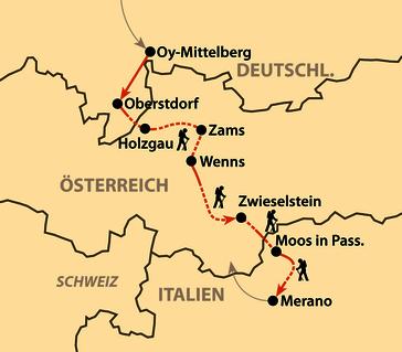Karte: Alpenüberquerung von Oberstdorf nach Meran (Komfortvariante)