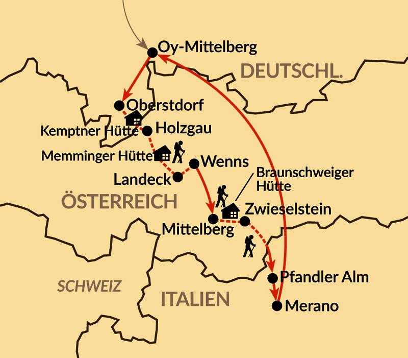 Karte: Alpenüberquerung von Oberstdorf nach Meran (Hüttenvariante)