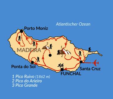 Karte: Das Laufevent in Funchal - Marathon und Halbmarathon