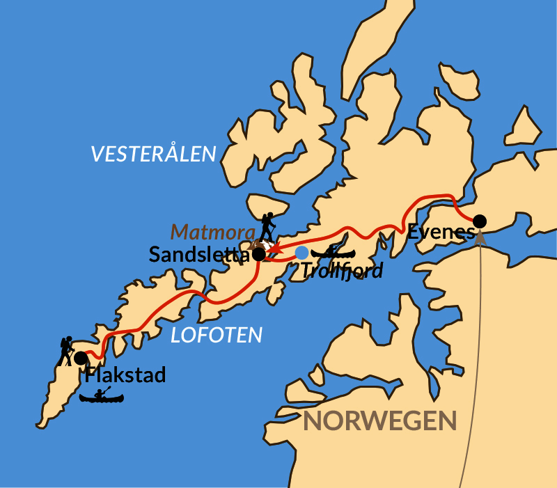 Karte: Lofoten – Inseln im Licht der Mitternachtssonne
