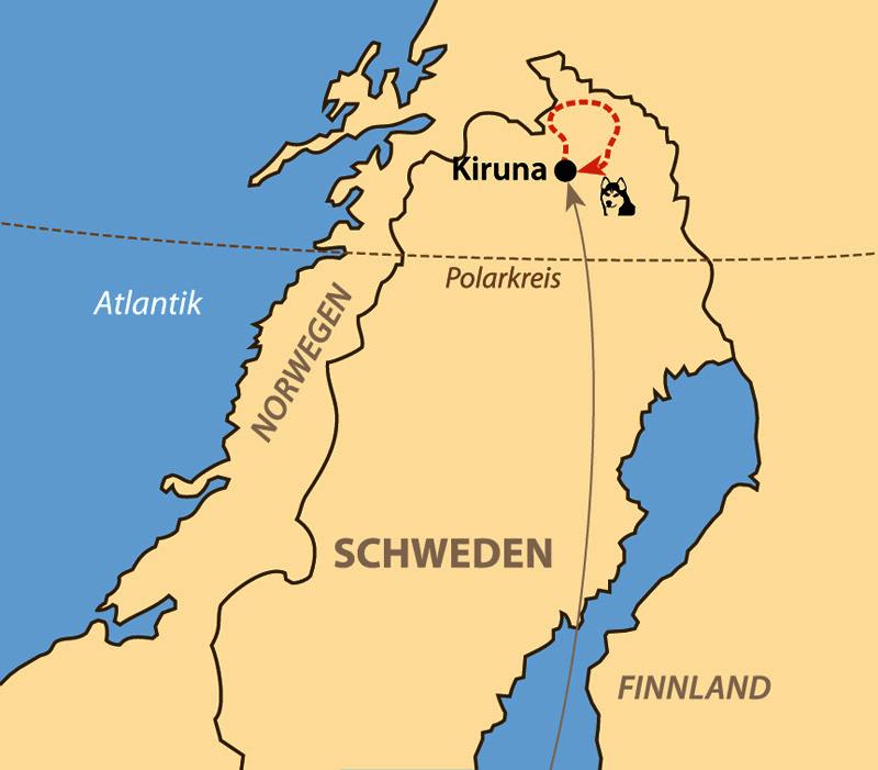 Karte: Von Hütte zu Hütte mit Huskys