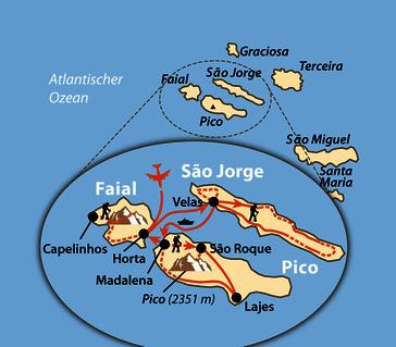 Karte: Wandern auf drei Atlantikinseln