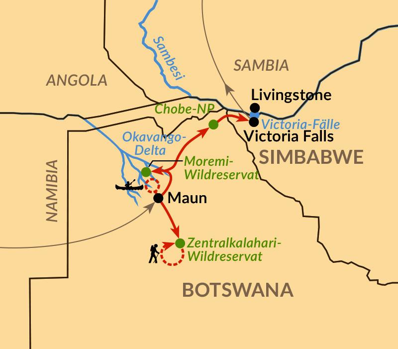 Karte: Auf Spurensuche in Botswana