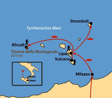 Karte: Liparische Inseln - Wandern auf den Vulkaninseln des Mittelmeers