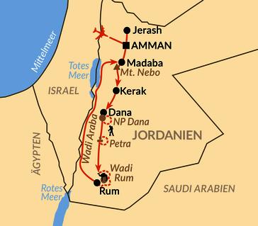 Karte: Kultur und Natur im Königreich Jordanien