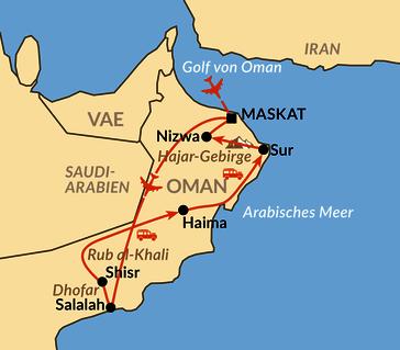 Karte: Oman von Süd nach Nord