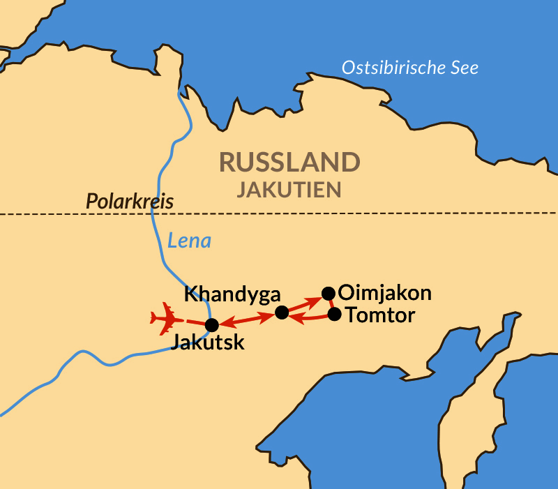 Karte: Jakutien – Zum kältesten bewohnten Ort der Welt: Oimjakon!