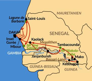 Karte: Von der Atlantikküste zum Gambia-Fluss und bis ins Hügelland der Bassari