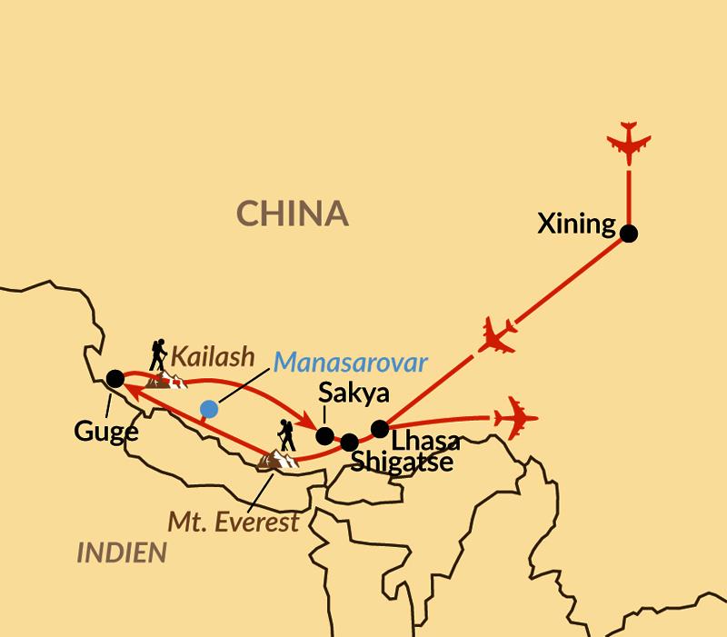 Karte: Übers Dach der Welt bis zum heiligen Berg Kailash