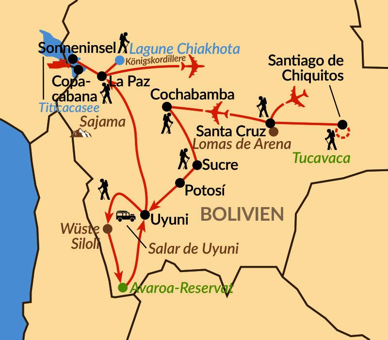 Karte: Höhepunkte Boliviens
