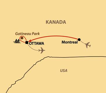 Karte: Skimarathon Gatineau Loppet 2022 und 2024