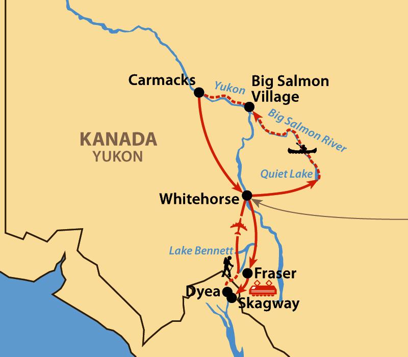 Karte: Abenteuer Yukon: Big Salmon River und Chilkoot Trail