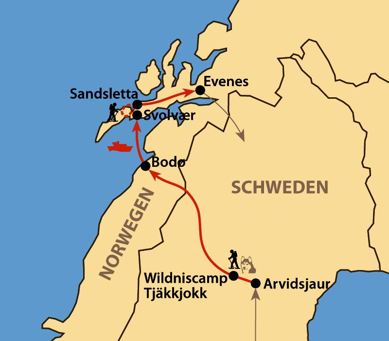 Karte: Wintererlebnis Lappland und Lofoten