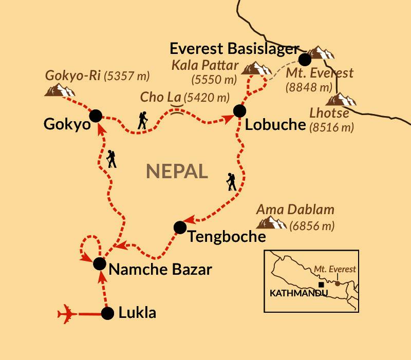 Karte: Durchs Gokyo-Tal zum Everest-Basecamp