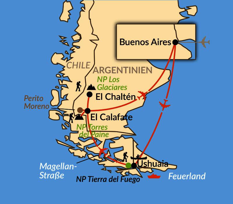 Karte: Abenteuer Patagonien und Feuerland
